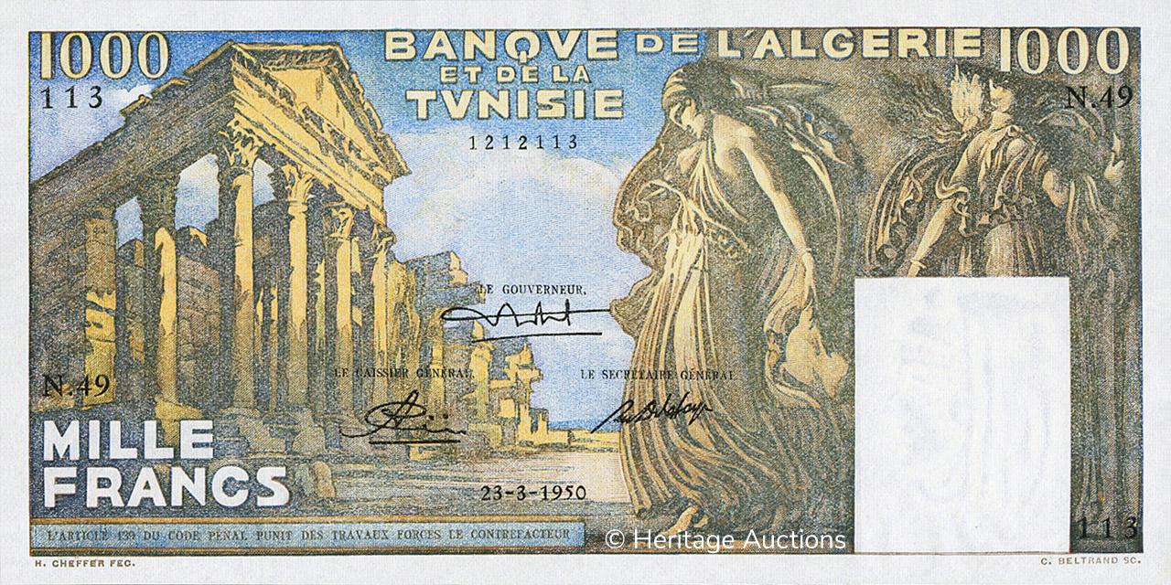 RECTO 1000 francs Temple romain Type 1950