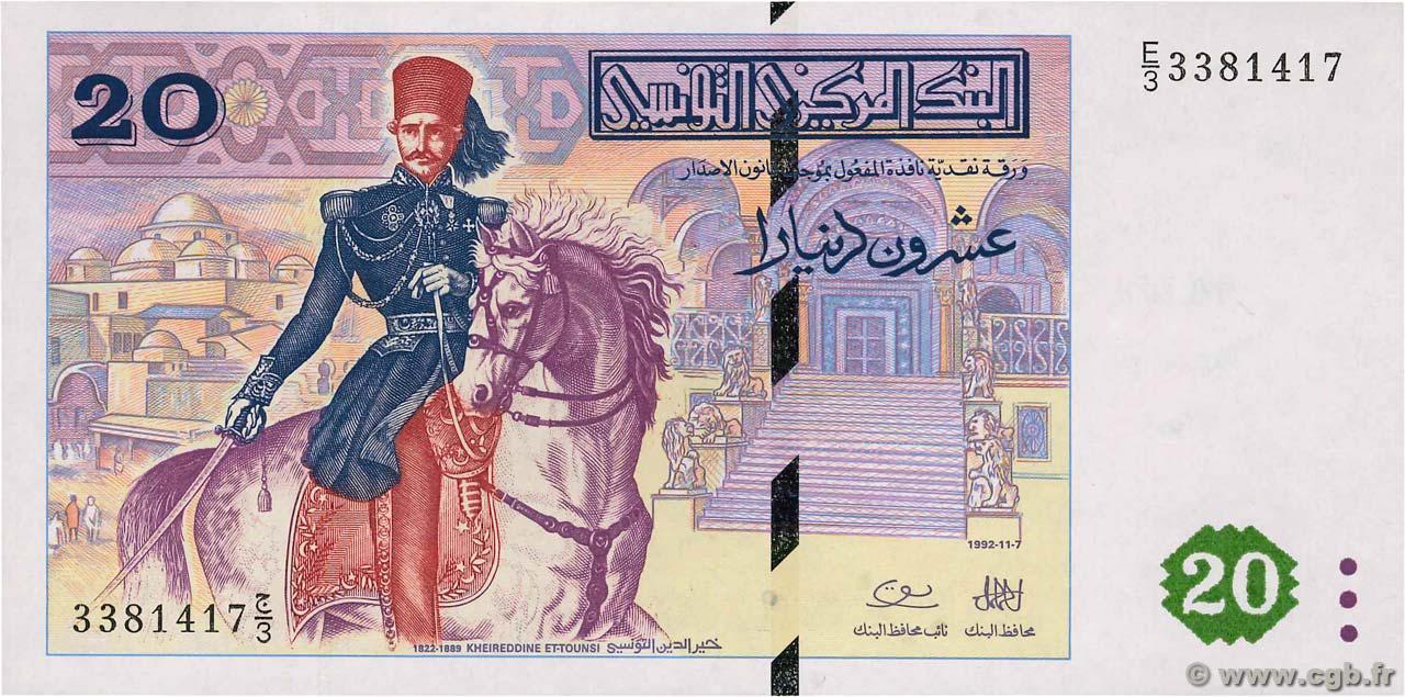 RECTO 20 Dinars Type 1992