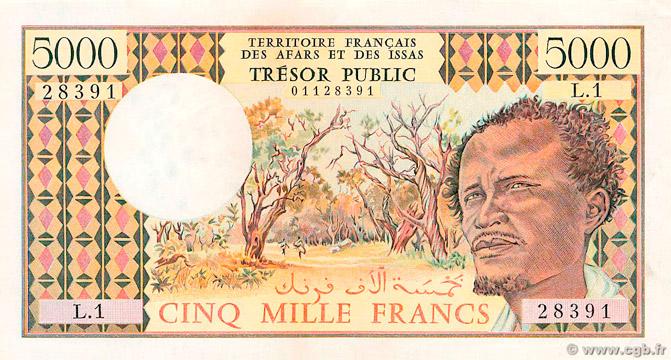 5000 francs Afars et Issas Type 1975 Pick##35