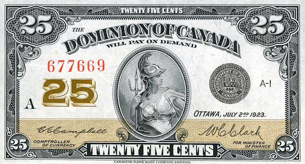 25 Cents Type 1923 Pick##11