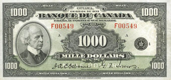 1000 Dollars Type 1935 « French » Pick##57