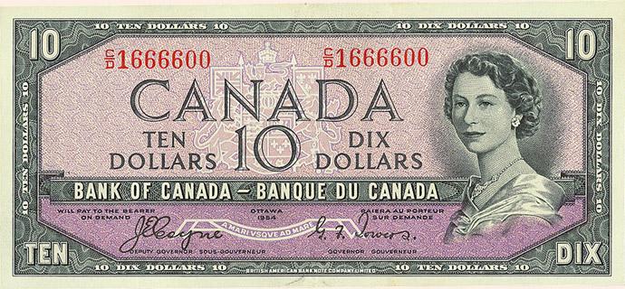 10 Dollars Type 1954 Devil's Face Pick##69