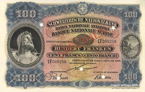 100 francs Type 1918 non émis Pick##10