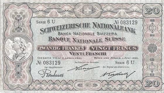 20 francs Type 1922 Pick##27