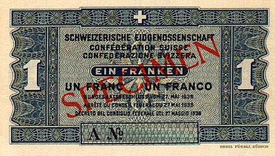 1 franc Type 1938 non émis Pick##40