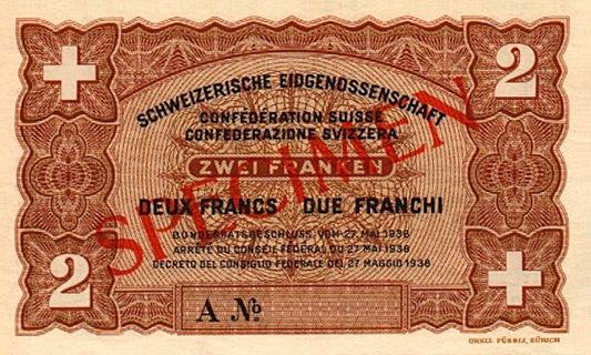 2 francs Type 1938 non émis Pick##41