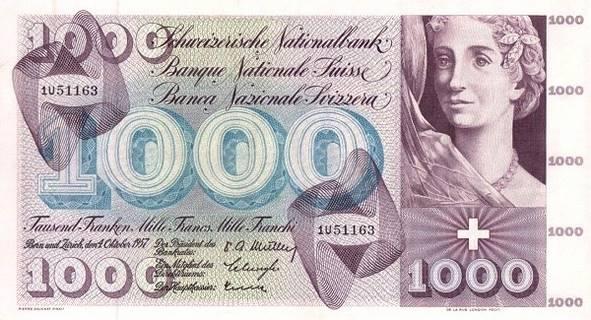 1000 francs Type 1954 Pick##52