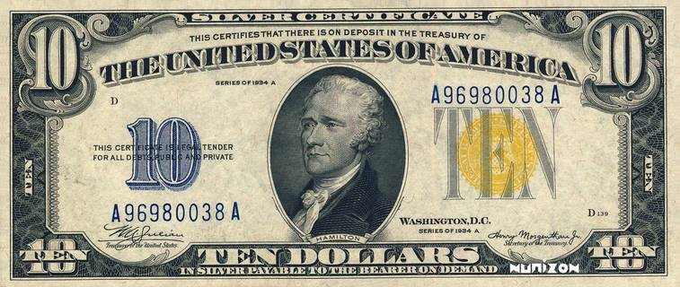 10 dollars Silver certificate Type 1934 Pick#NA