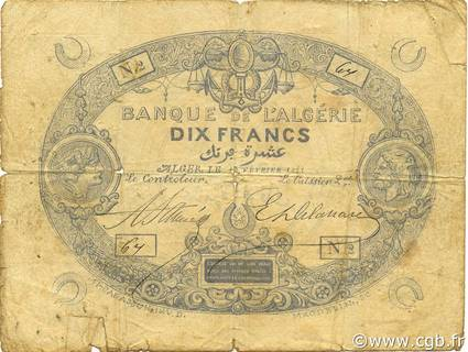 10 francs Bleu Type 1871 Pick##14