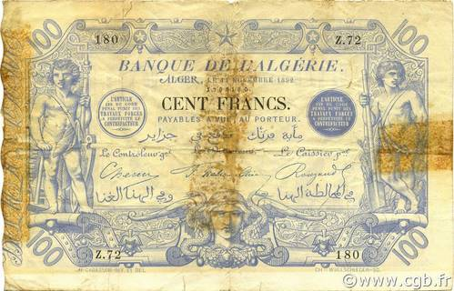 100 francs Bleu Type 1874 (Alger) Pick##18
