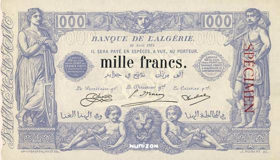 1000 francs Bleu Type 1875 Pick##76