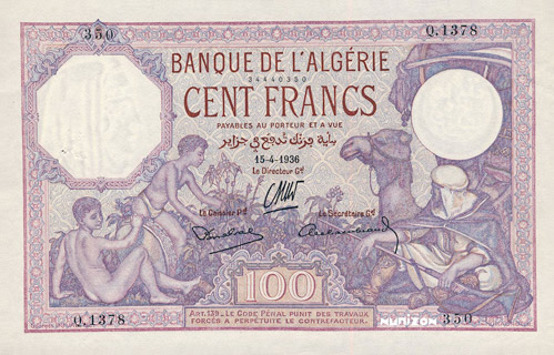 100 francs Violet Type 1920 Pick##81