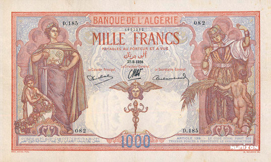 1000 francs Type 1926 Pick##83