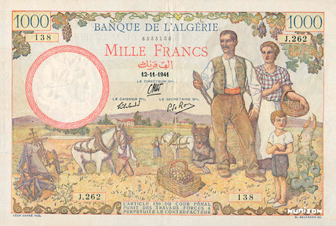 1000 francs Type 1940 Filigrane « tête » Pick##86