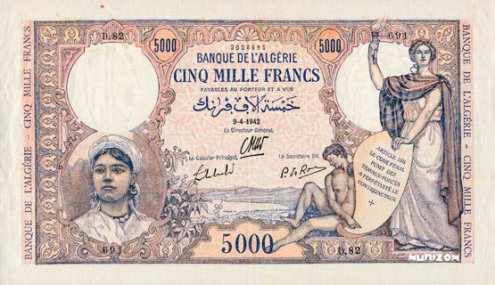 5000 francs Type 1942 Pick##90