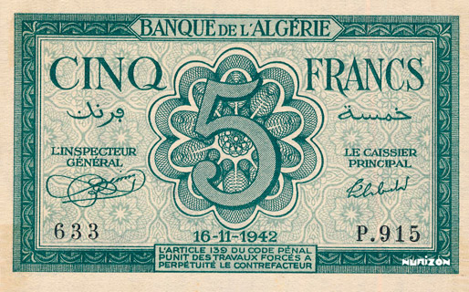 5 francs Type 1942 Pick##91