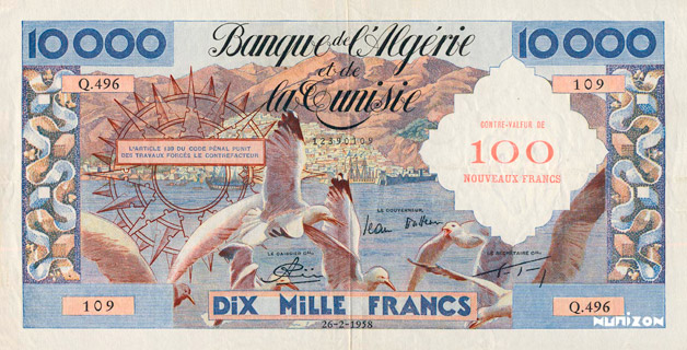 100 NF/10000 francs Mouettes Type 1959 Pick##114