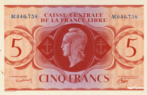 5 francs Type 1941 CCFL Pick##10