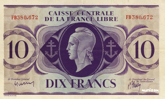 10 francs Type 1941 CCFL Pick##11