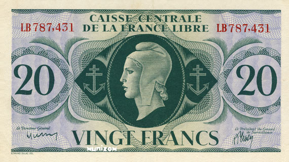 20 francs Type 1941 CCFL Pick##12