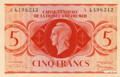 5 francs Type 1943 CCFOM Pick##15