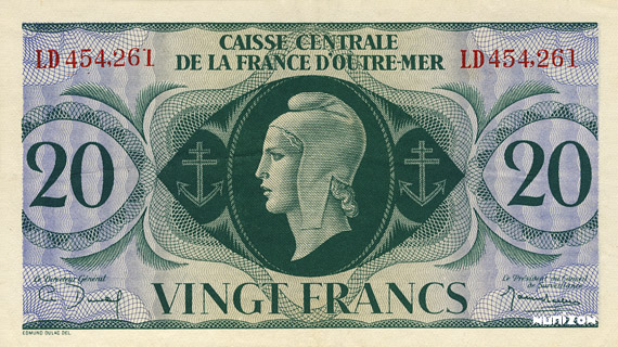 20 francs Type 1943 CCFOM Pick##17