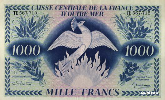 1000 francs Phénix Type 1943 CCFOM Pick##19