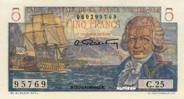 5 francs Bougainville Type 1947 Pick##20B