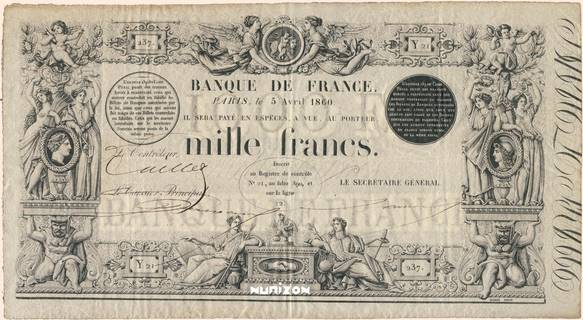 1000 francs Type 1842 Barre Pick##41