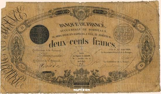 200 francs Type 1848 Succursales Pick##46b
