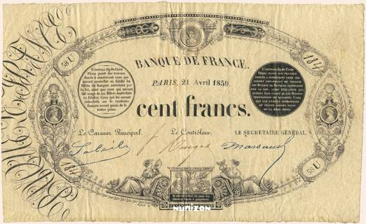 100 francs Type 1848 Définitif transposé Pick##45b