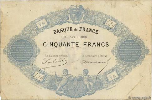 50 francs Type 1864 Bleu Pick##50