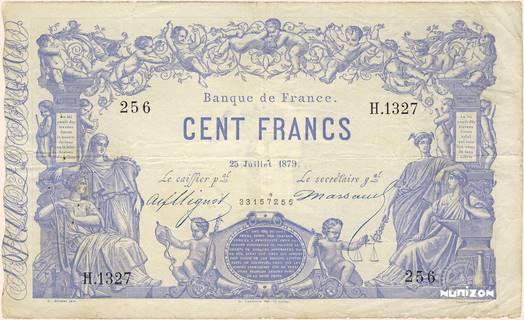 100 francs Type 1862 Bleu à indices noirs Pick##52b