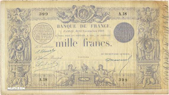 1000 francs Type 1862 Bleu Pick##54
