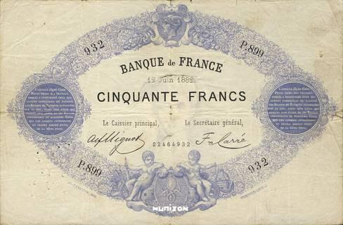 50 francs Type 1868 Bleu à indices noirs Pick##51