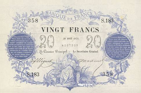 20 francs Type 1871 Pick##55