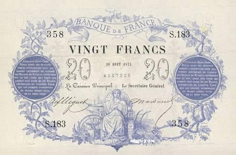 20 francs Type 1871 Bleu Pick##55