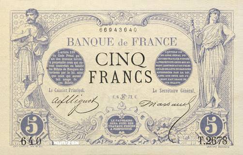 5 francs Type 1871 Pick##60