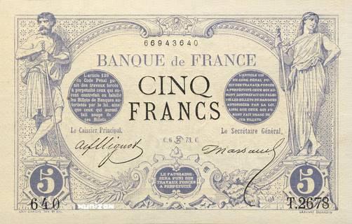 5 francs Type 1871 Bleu Pick##60