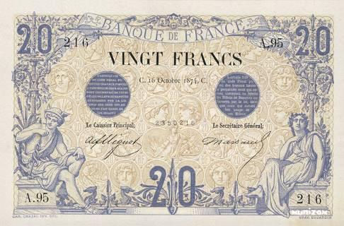 20 francs Type 1873 Bleu et bistre Pick##61