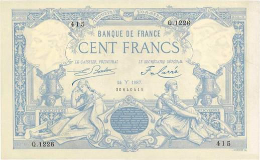 100 francs Type 1882 À filigrane dégagé Pick##63