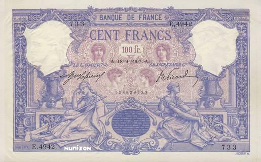 100 francs Type 1888 Bleu et rose Pick##65