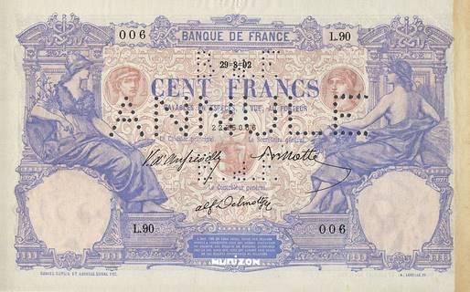"100 francs Type 1892 Bleu et rose ""non émis"" Pick##NA"