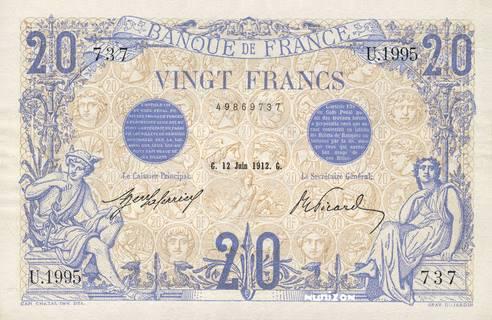 20 francs Type 1905 Bleu et bistre à texte bleu Pick##68