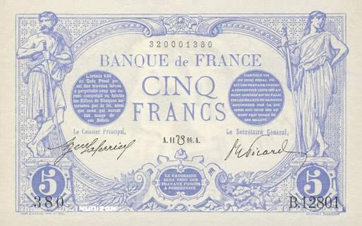 5 francs Type 1905 Bleu à tête filigranée Pick##70