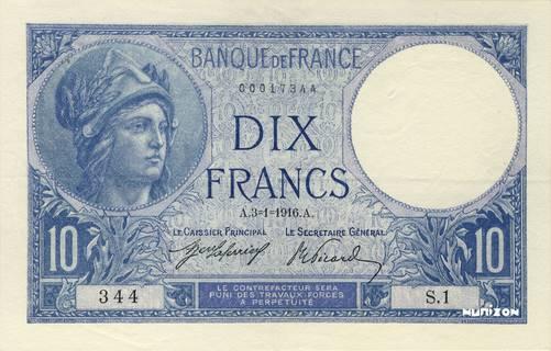 10 francs Type 1915 Minerve Pick##73/#84