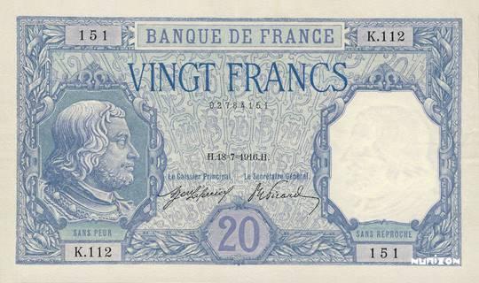 20 francs Type 1916 Bayard Pick##74