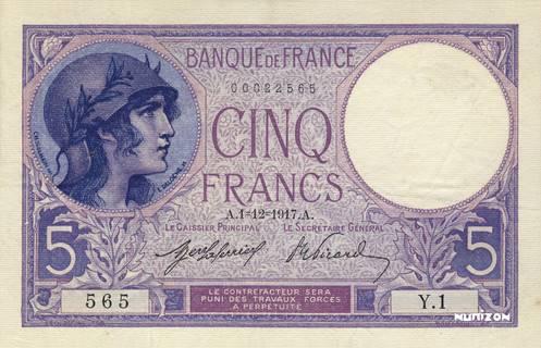 5 francs Type 1917 Femme casquée Pick##72/#83