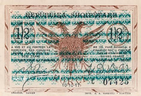 1/2 franc Korçë Type 1917 Pick##141/143/145