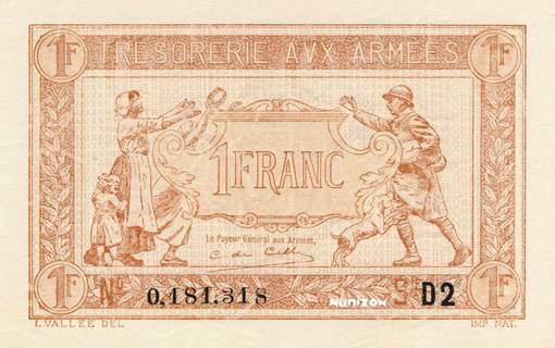 1 franc Trésorerie aux armées Type 1917-1919 Pick##M2/#M5